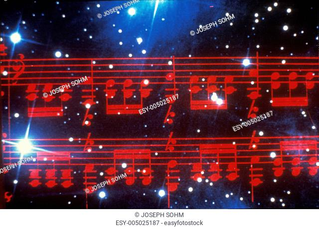 Space special effects composite of red musical notes and starry sky