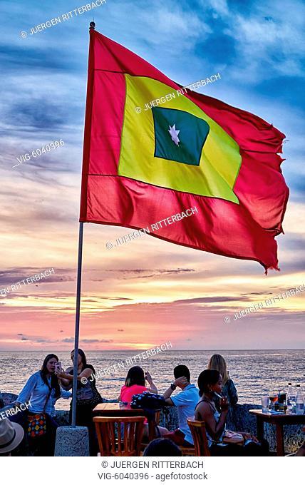 Cartagena flag at sunset at Cafe del Mar, Cartagena de Indias, Colombia, South America - Cartagena de Indias, Colombia, 29/08/2017