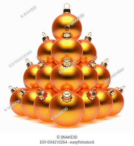 Christmas balls pyramid New Year's Eve orange baubles group adornment decoration glossy spheres ornament. Happy Merry Xmas traditional wintertime holidays...