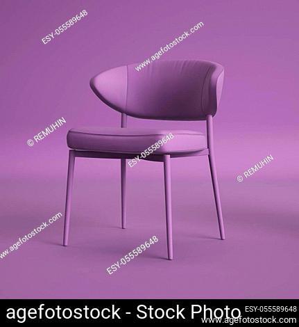 Violet chair on violet background. Minimal concept. Digital illustration. 3d rendering