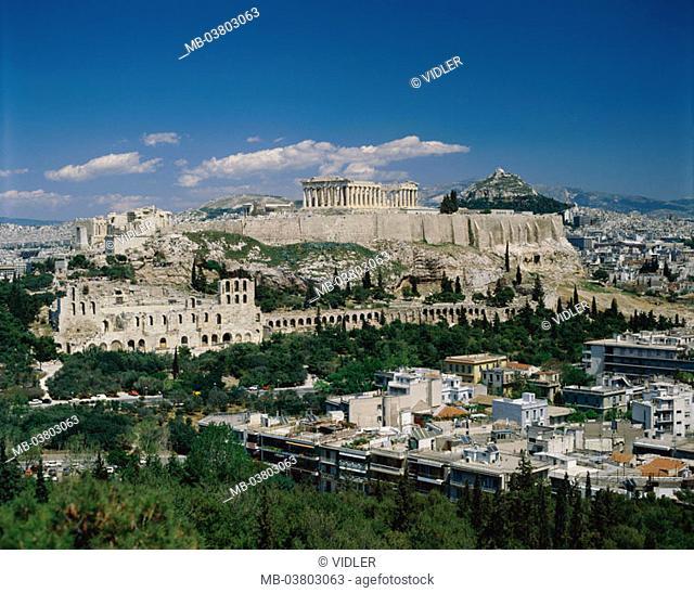 Greece, Athens, view at the city, Acropolis, Parthenon, Lykabettos-Hügel  Europe, Attika, capital, city, temple mountain, temples, construction, architecture
