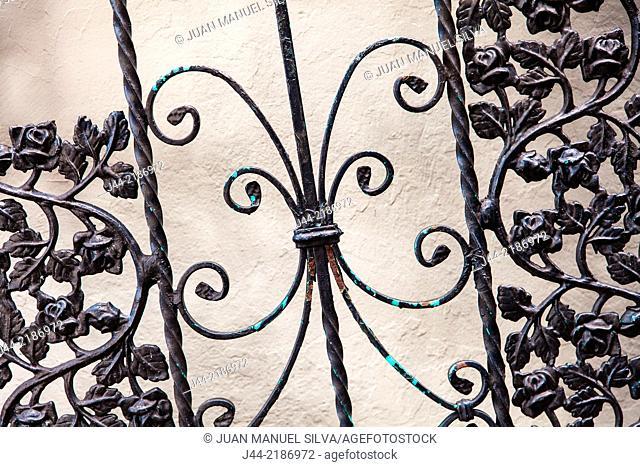 Wrought iron gate on the street, Little Havana, Miami, Florida, USA