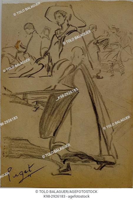 mujer con bandeja de secar albaricoques, Narcís Puget Viñas, Charcoal drawing, Puget Museum, casa noble de Can LLaudis , Dalt Vila, Ibiza, Balearic Islands