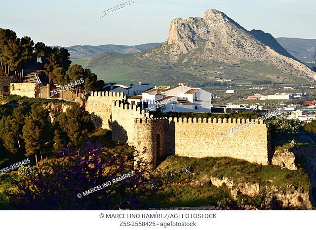 Antequera's castle with the Peña de los Enamorados in the background. Antequera. Malaga. Spain