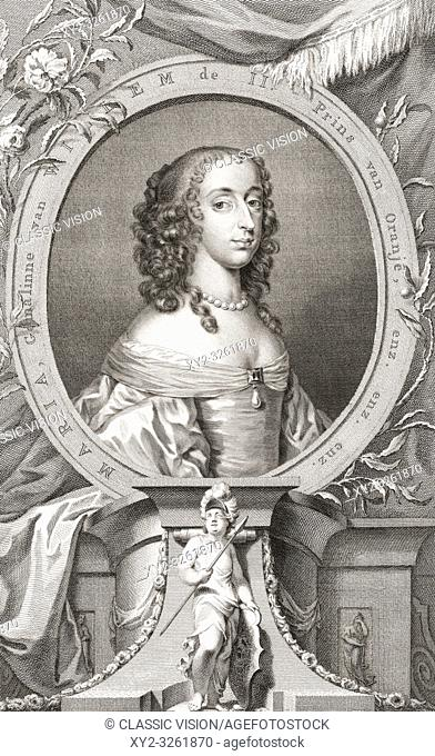 Mary, Princess Royal, Princess of Orange, Countess of Nassau, 1631-1660. Daughter of King Charles I of England and his wife Henrietta Maria of France