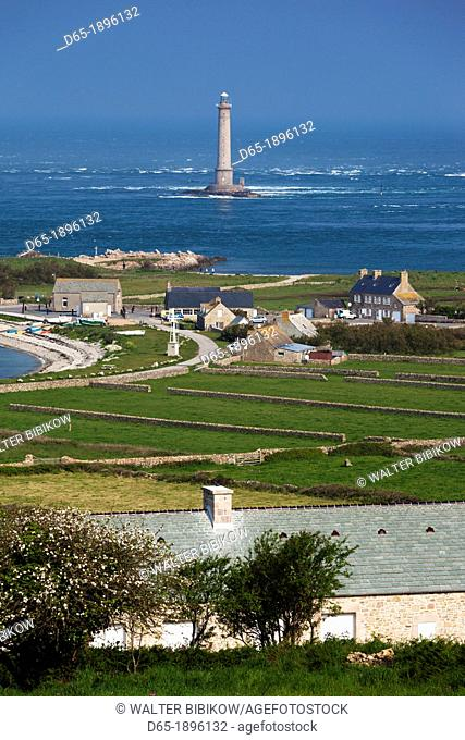 France, Normandy Region, Manche Department, Goury, elevated town view and the Cap de la Hague lighthouse