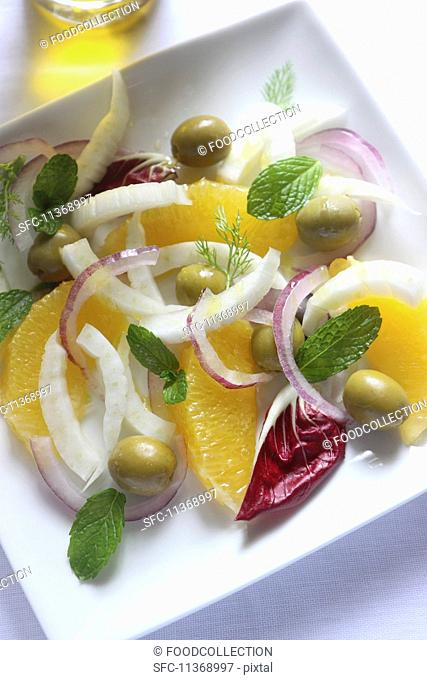 Fennel and orange salad with red onions and mint (Sicily)