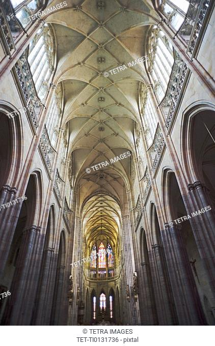 Vaulted gothic ceiling of Saint Vitus Cathedral in Prague