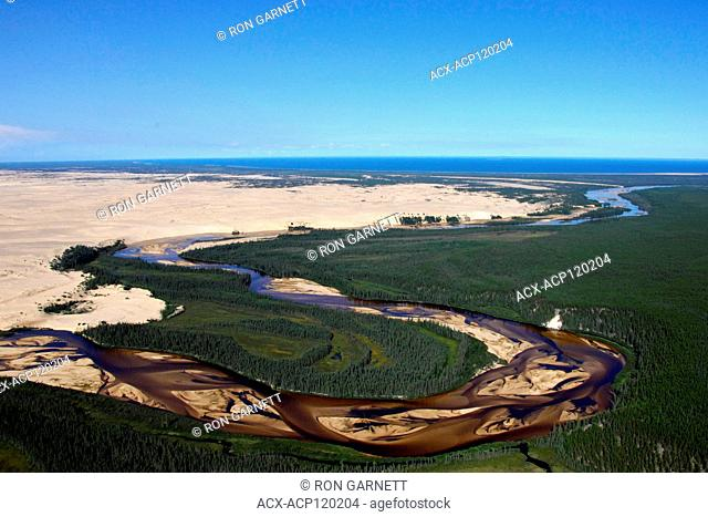 aerial, William River, Athabasca Sand Dunes Prov Park, Lake Athabasca, Saskatchewan