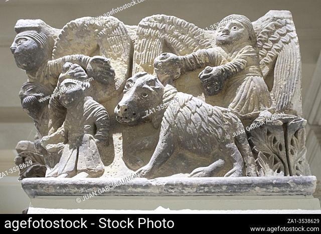 Barcelona, Spain - Dec 26th 2019: Capital of Camarasa Pillar with Scene of Isaacs sacrifice. National Art Museum of Catalonia, Barcelona, Spain