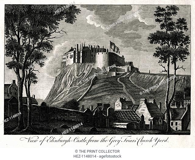 'View of Edinburgh Castle, from the Grey Friars Church Yard', 18th century