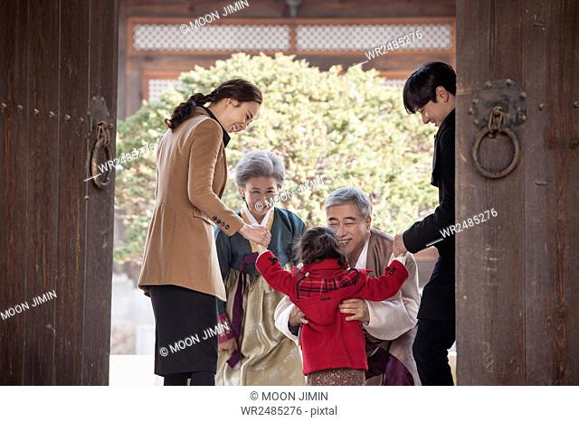 Family visiting their relatives
