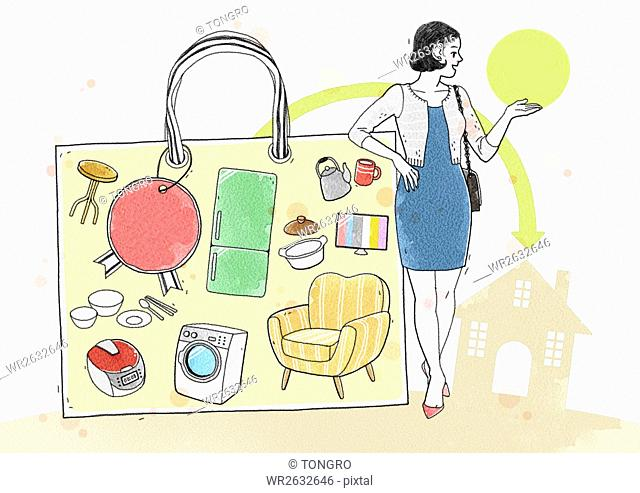 Lifestyle of unmarried woman related to shopping