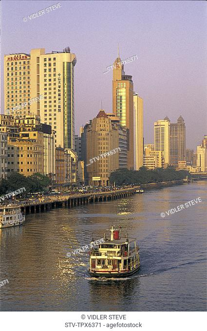 Asia, Boats, Bridge, Buildings, China, City, Guandong, Guangzhou, Holiday, Landmark, Modern, Pearl, Province, River, Skyline, To