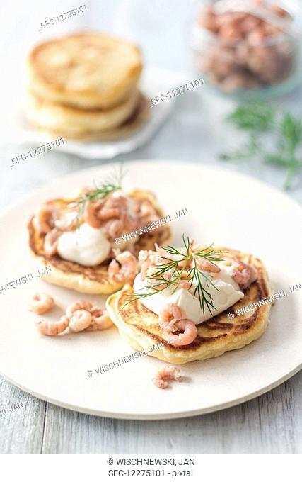 Pancakes with North Sea crab, mayonnaise and dill