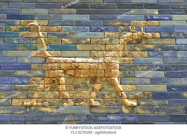 Coloured glazed brick panels of the facade of the first smaller Ishtar Gate, Babylon, dating from 604-562 BC. Babylon (present day Iraq)
