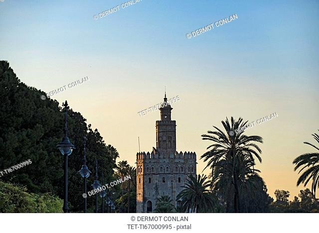 Spain, Andalusia, Seville, Torre del Oro at dawn
