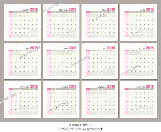 Set identical light calendars, 2019, months, flat. Diary for notes, scheduling, marks of important dates and events. Vector illustration of menologies...