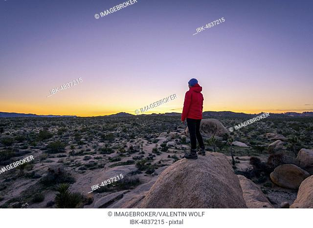Young woman standing on granite rocks, at sunset, rock formations, White Tank Campground, Joshua Tree National Park, Desert Center, California, USA