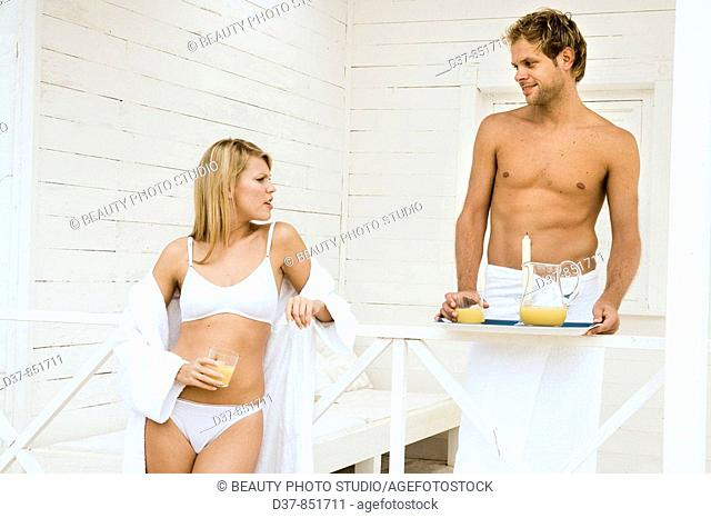 Couple at home having breackfast