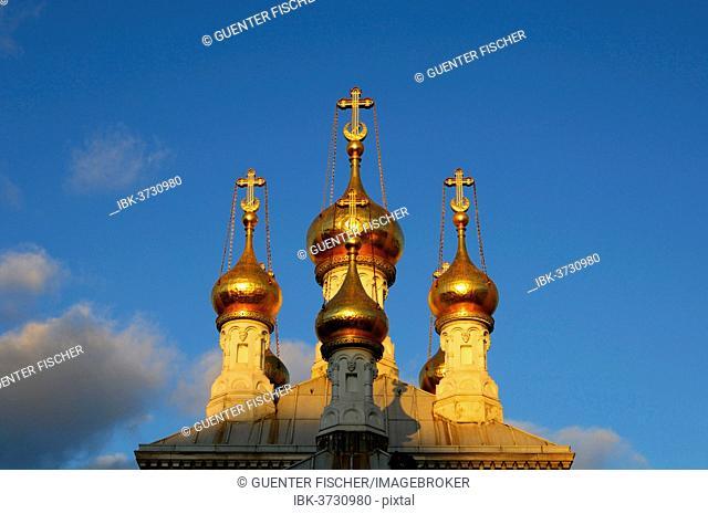 Gilded onion towers of the Russian Orthodox Church in Geneva in the evening light, Genf, Kanton Genf, Schweiz, Genève, Switzerland