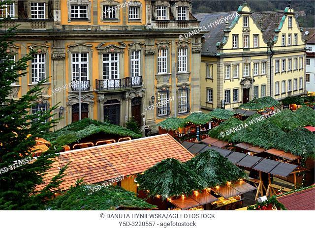 Christmas market at Marktplatz, town hall in background, historic part of Schwäbisch Hall, Schwäbisch Hall, Baden-Württemberg, Germany, Europe