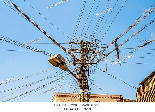 Chaotic power lines with streetlight, Srirangam, Tiruchirappalli district, Tamil Nadu, India