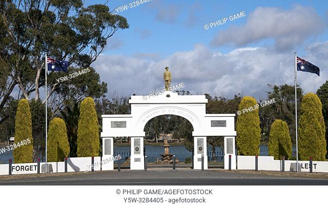 War memorial park at Murtoa, Wimmera region, Victoria, Australia. The imposing park entrance belies the dwindling population of the present-day town