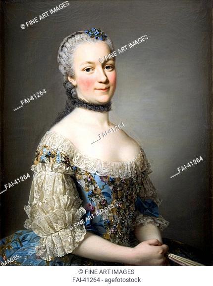 Portrait of Katarzyna Mniszech, née Zamoyska (1722-1771) by Roslin, Alexander (1718-1793)/Oil on canvas/Rococo/1753/Sweden/Skokloster...