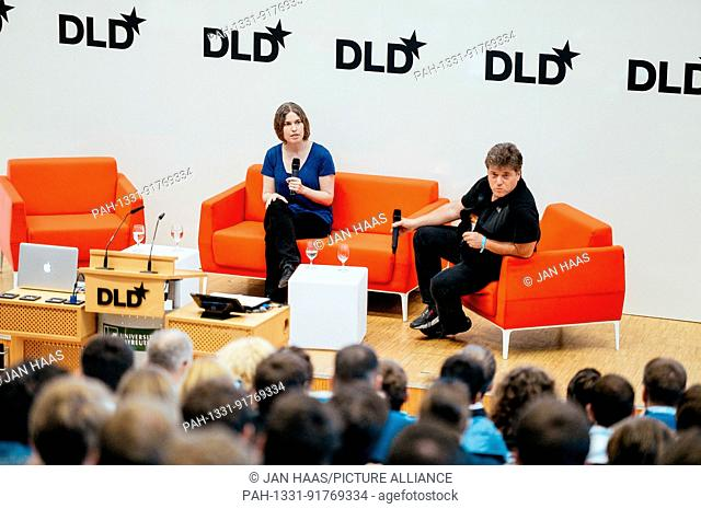 BAYREUTH/GERMANY - JUNE 21: Hilray Mason (Fast Forward Labs, l.) talks with Author Andrew Keen on the stage during the DLD Campus event at the University of...