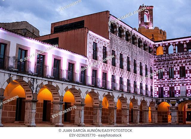 Plaza Alta, High Square of Badajoz at twilight iluminated with led lights
