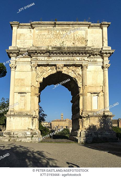The Arch of Titus, built in the 1st-century AD, on the south east edge of the Roman Forum,, Rome, Italy