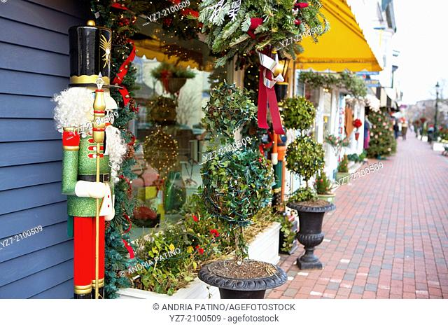 Washington Street Mall store fronts, Cape May, New Jersey, USA