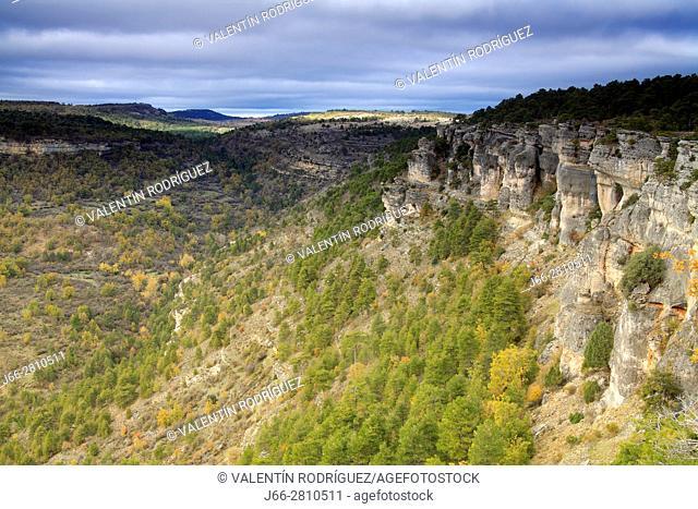 Landscape with limestone seem from the viewpoints of Las Majadas. Natural park Sierra de Cuenca. Cuenca