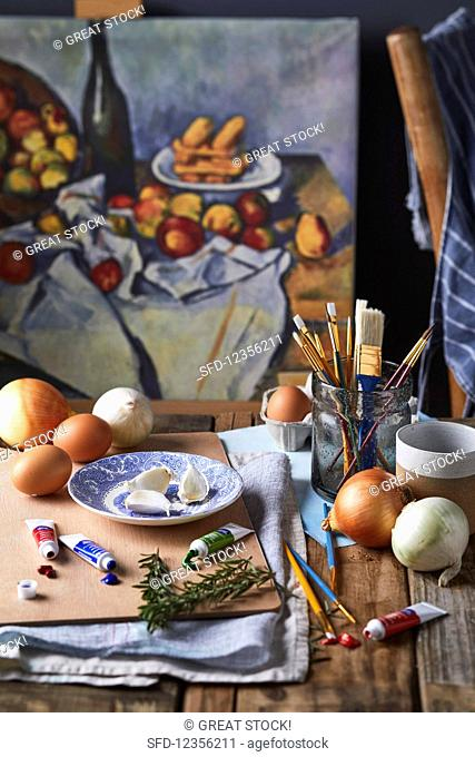 A still life with onions, eggs, and garlic in a painter's workshop (France)