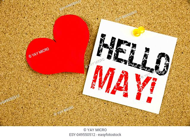Conceptual hand writing text caption inspiration showing Hello May. Spring concept for Criminal hacker security prevention and Love written on sticky note