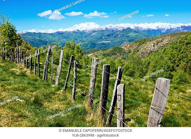 Rural fence in the mountains on the Alps, Mottarone, Stresa, Italy