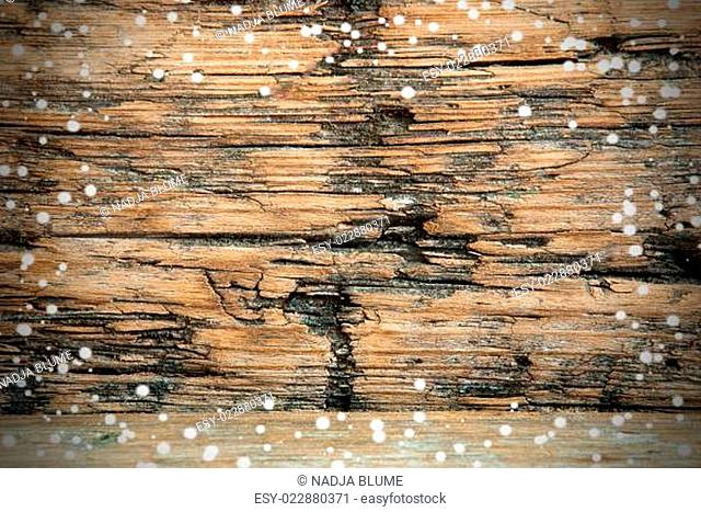 Snowy Wooden Background