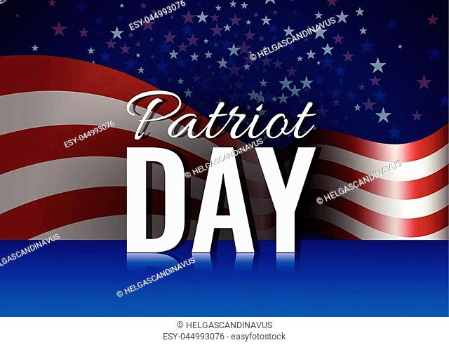 President's Day banner with american flag and stars background. Stock vector