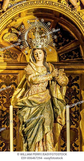 Mary Crown Statue Basilica Santa Iglesia Collegiata de San Isidro Madrid Spain. Named after Patron Saint of Madrid, Saint Isidore, Church was created in 1651