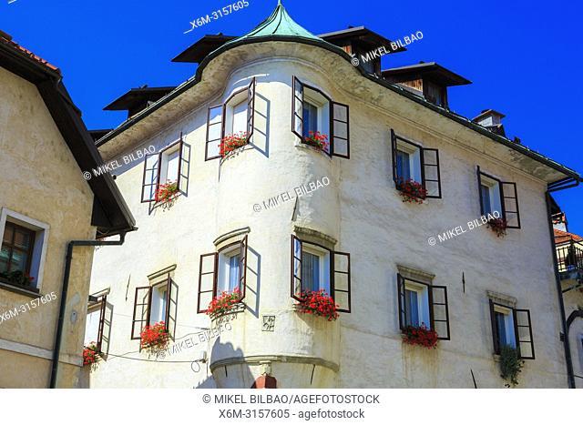 Building facade. Skofja Loka. Upper Carniola region. Slovenia, Europe