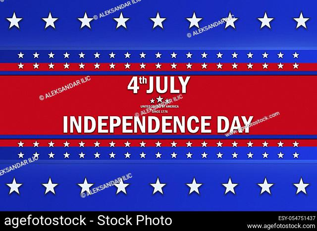 4th of July, Independence Day text sign over a background with blue and red color and white stars