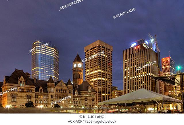 Night, Old City Hall, Downtown Toronto, Ontario, Canada