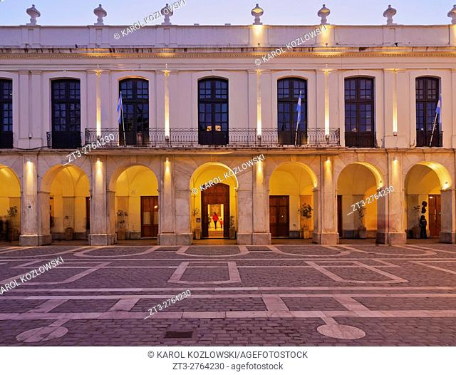 Argentina, Cordoba, Twilight view of the Cordoba Cabildo, colonial town hall