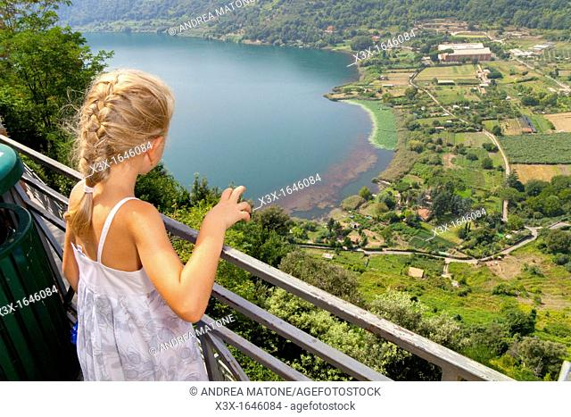 Girl looking at Lake Nemi in Italy