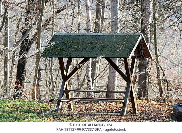 23 November 2018, Saxony, Bad Schlema: A covered rest area stands in the forest near Bad Schlema. Such table and bench combinations, also known as shelters