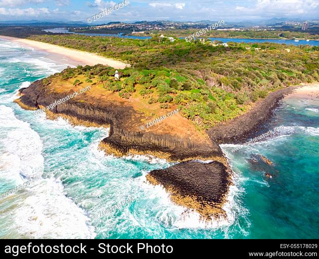 A view over Fingal Head and Fingal Head Causeway near the Gold Coast in Queensland, Australia