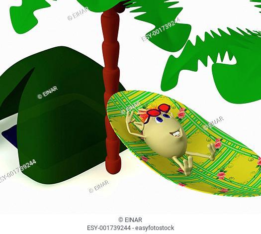 Puppet resting near green tent under palm