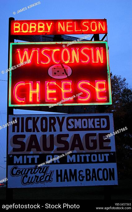 A rest area sells delicacies from cheese to meats in Wisconsin