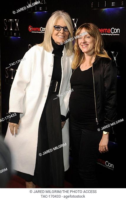 "(L-R) Actress Diane Keaton and director Zara Hayes arrive at the STXfilms presentation red carpet for CinemaCon's """"The State Of The Industry: Past"